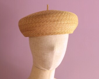 "Straw Beret Hat for Summer. ""Elie"""