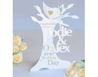 Personalised 3D Popup Paper Cut Wedding /Anniversary/Engagement Card .