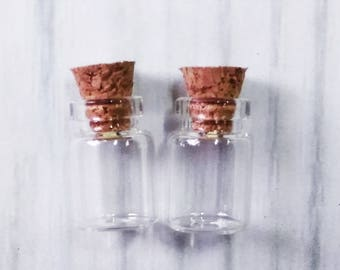 Lot of 100 (0.5ml) Glass Bottles with Cork 12x18mm Tiny Empty Jars. Small Vials. Message in a Bottle .5ml