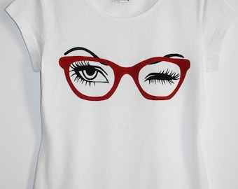 sunglasses glass eyes eyelash shirt eyelashes Women's Clothing Tops tees T-shirts for her gift for her white tee red glasses funny tshirts