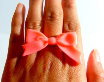 Elegant Large Coral Bow Ring