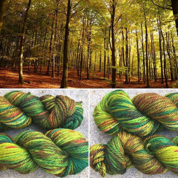 Autumn is Coming Chunky, indie dyed merino yarn in speckled fall greens