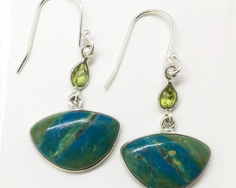 Peruvian Blue Opal Earrings with Peridot Accents