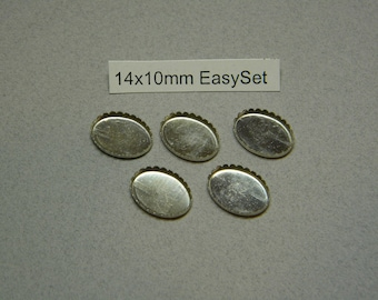 14x10mm Oval EasySet Bezel Cups in Sterling Silver (5 pieces)