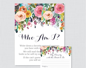 Who Am I Bridal Shower Game - Printable Floral Bridal Shower Memory Game - Memory With the Bride Guessing Game - Shabby Chic Garden 0002-B