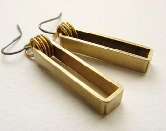 rectangular drop earrings, drop earrings, simple bar earrings, brass jewelry, minimal dangle earrings