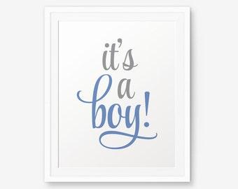 It's a boy! Printable, Boy Nursery Printable, Boy Room Decor, Boy Nursery Art, Baby Boy Shower Sign Printable