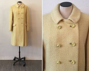 Bromleigh 60s coat| Vintage Double Breasted Dress Coat | 1960's Yellow  Double Breasted wool winter Coat