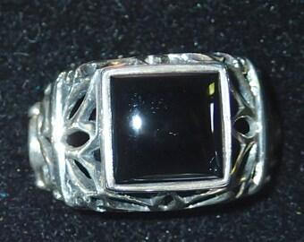 Black Onyx Ornate Sterling Ring