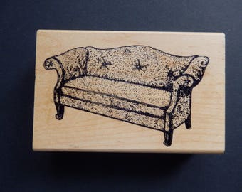Comfy Couch - Furniture Rubber Stamp - Wood Mount - Rubber Stamp (1)