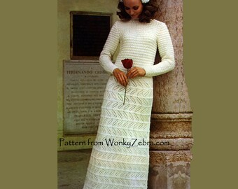 Vintage Knit Wedding Dress Knitting Pattern PDF 486 from WonkyZebra