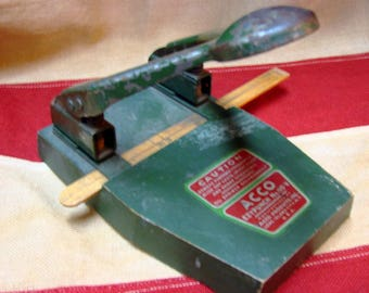 Vintage ACCO EZYPUNCH - Antique Wood Ppaer Hole Punch