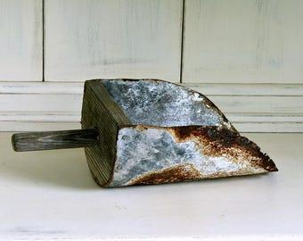 Vintage Metal & Wood Scoop | Grain Scoop | Feed Scoop | Farmhouse Style | Rusty Metal Decor