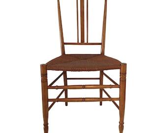 Antique Maple Side-Chair Rush Seat  Arts & Crafts Design Influence34 x 17 x 15  Excellent Se