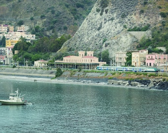 Coastal Wall Art, Fisherman, Train Station, Sicily