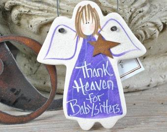 Babysitter Thank You Salt Dough Angel Ornament