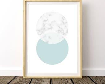 Modern Marble Print, Marble Printable Art, Marble Print, Scandinavian Modern, Marble Circles, Mint Marble Print, Nordic Print Design