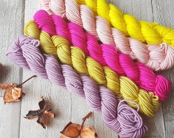 Mini Skein Set, 5 x 20g skeins, hand dyed yarn, mini skein, DK yarn, 4ply yarn, sparkle sock, Yorkshire in Bloom colourway, sock knitting
