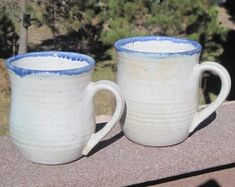 Coffee Cups in White with Blue Rim - Set of Two - Handmade Pottery