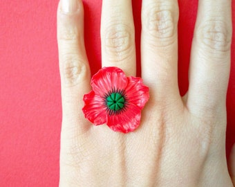 POPPIES - Adjustable ring with poppy in polymer clay fimo / handmade / red flower ring