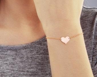 Initial heart bracelet, Valentine's Day Gift, heart bracelet, engraved bracelet, Personalized Bracelet, Mother's Bracelet