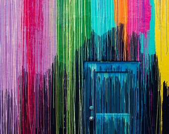 Fine Art Photography, Neon Art, Houston Print, Modern Wall Art, Street Photography, Graffiti, Dripping Paint, Rainbow Colors, Fine Art Print