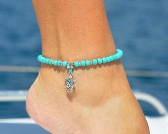 Ankle Bracelet | Turtle Jewelry | Turquoise Anklet | Turtle Anklet | Beach Anklet | Beach Jewelry | Turtle Foot Jewelry | Ocean Jewelry