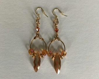 Long Orange Crystal Beaded and Gold Dangle Earrings