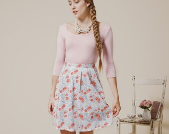 SALE 50% High Waist Organic Cotton Skirt in White Floral or Blue Floral
