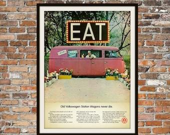 Volkswagen Bus VW Station Wagon -  Rendition of Advertisement - Vintage Advertising Vintage Volkswagen - Print Art Item Men's Art Gift 0126