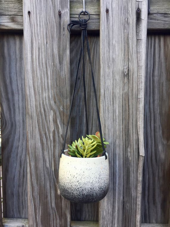 Large Ceramic planter-white and black-   Hanging flower pot - herb planter