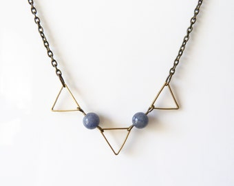 Geometric Triangles and Blue Aventurine Necklace - Geometric Jewelry - Christmas Gift