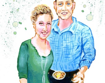 """Acrylic Painting Couples Portrait 5""""x7"""" on Watercolor Paper"""