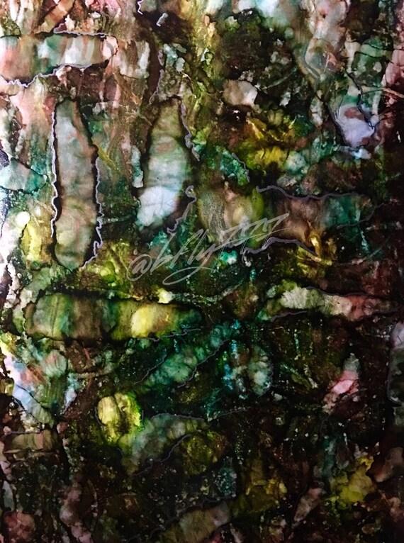 "Original Alcohol Ink Abstract: ""Jungle Botanical"" (11"" X 14"")"