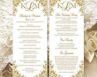 "Printable ""Kaitlyn"" Wedding Program Template Gold Order of Service Ceremony Program Instant Download All Colors Available DIY You Print"