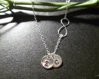 Sideways Infinity Necklace - Initial Necklace - Two Initial Disc - One or More Disc - Personalized Charm - Love Charm - Mommy Necklace