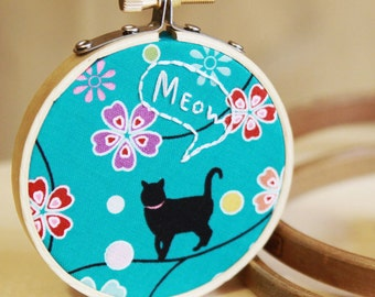 Japanese Kitty Fabric Hoop With Quote