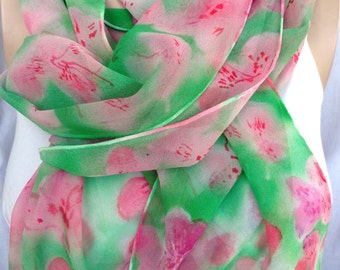 silk scarf extra long chiffon Pink Pastel Azalea unique hand painted wearable art green rose pink