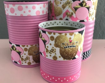 Set of 3 Minnie Mouse Paris Decorative Cans in Pink & Gold