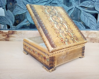 Vintage Pyrography Box / Old Handmade Cigarette Case / Retro Hand Carved Wooden Box / Rustic Western Trinket box / Pencil Case / Memory Box