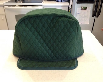 2 Slice Zipper Toaster Cover Hunter Green Storage Kitchen Quilted Fabric Dust Cover Small Appliance Covers Ready To Ship