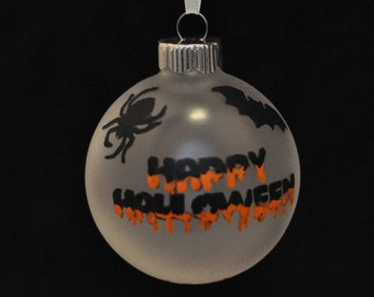Happy Halloween Hand Painted Holiday Ornament