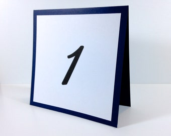 Navy Blue Table Number Cards (set of 5) - Folded