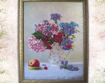Beadwork Bead embroidery picture Gift-for-women Original Home decor wall art Gift-for-her Needlecraft Housewarming gift idea her Kitchen art