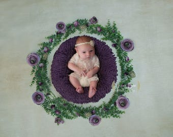 Newborn Backdrop Leaves and Purple Flowers