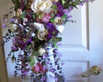 Cascading Bridal Bouquet XL 28 x24 x14 Victoria Feel Crescent Shape Duo Swag~READY to SHIP Floral Wreath~Boho Wedding~Ultra Violet Mauve Mix