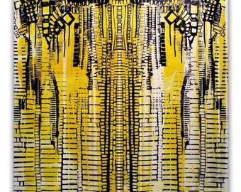 """12""""x12"""" Original Abstract Street Art Symmetrical Detailed Digital Acrylic Gel Medium Transfer and Paint on Canvas Yellow Black and White"""