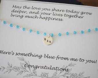 Something Blue Anklet, Bride Gift, Aqua Blue Anklet, Initial Charm Anklet, Sterling Silver Adjustable Anklet, Couples Charm