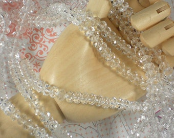 Clear Crystal Rondelle Beads 6mm x 4mm Briolettes Spacers - 16 inches (C274)