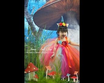Sherbert Rainbow tutu dress. Pageant tutu dress. Flower girl tutu dress. Rainbow dress. Unicorn tutu dress. Flower girl dress. Birthday tutu